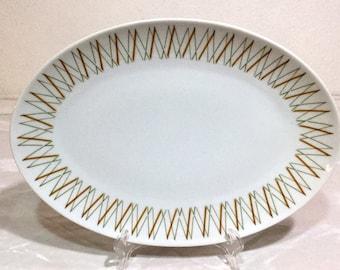 Seyei Fine China of Japan - PANAMA - Oval Platter #1401 - Mid-Century Geometric Criss-Cross Design