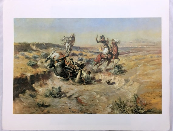 WESTERN ART POSTER Roping a Wolf Charles M Russell