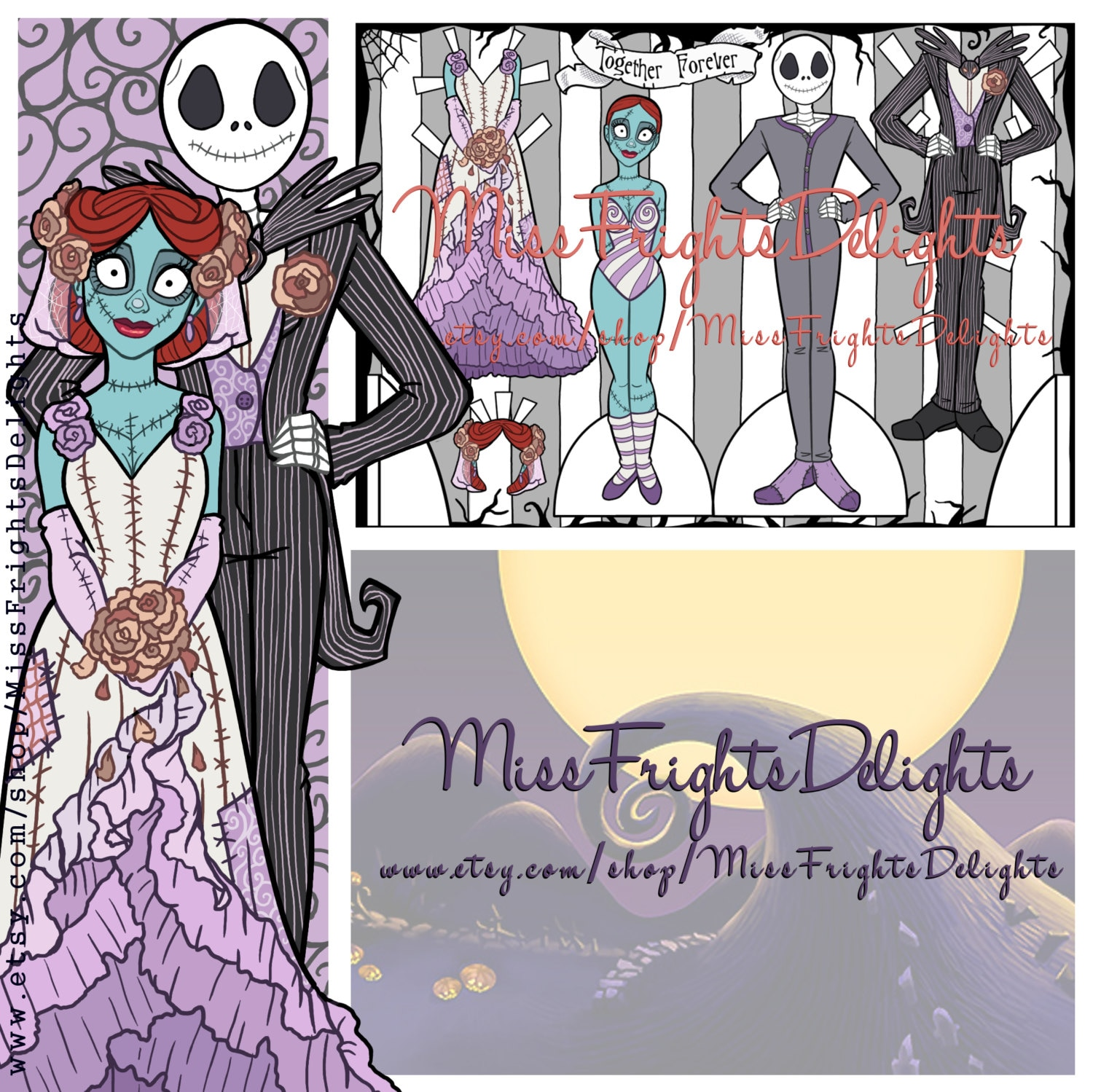NBC Jack and Sally Inspired Wedding Paper Doll Instant | Etsy