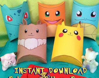 Pokemon Inspired Pillow Boxes - Instant Download - Printable - Gift Box Party Favors Pikachu Eevee Charmander Squirtle Bulbasaur Kawaii Cute