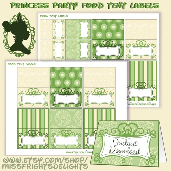 Princess And The Frog Food Tent Labels