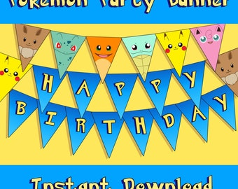 Pokemon Inspired Party Banner - Instant Download - Printable Bunting - Happy Birthday - A-Z - Pikachu Eevee Charmander Squirtle Bulbasaur