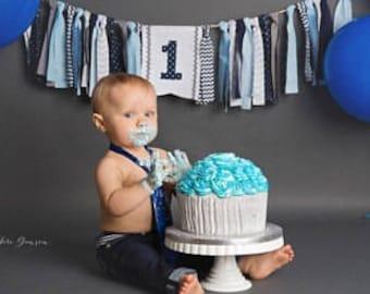 Light Blue Grey Navy Highchair Banner 1st Birthday Boy Cake Smash Photo Prop High Chair Decor