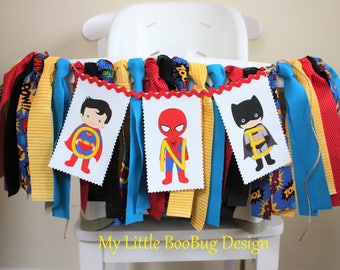 Superhero Highchair Banner, Photo Prop, 1st Birthday Banner, Cake Smash banner, High chair Garland, 1st birthday, Superman Party,