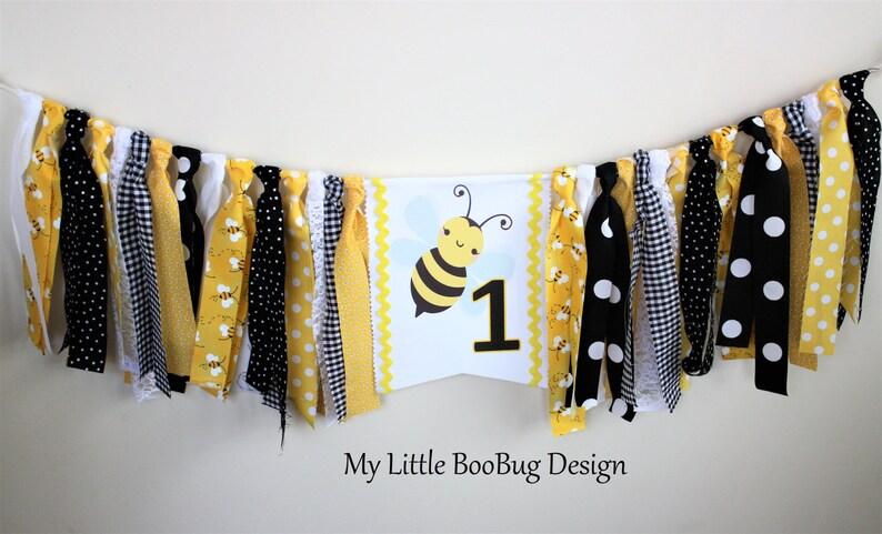 Smash Honey Haute Bee 1er Bumble Anniversaire Photo PropFille BannièreGâteau Chaise ygfb67