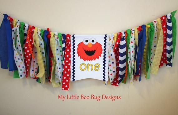 Elmo Sesame Street Highchair Banner Decoration 1st Birthday Boy Primary Colors