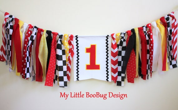 Race Car Highchair Banner Cars Checkered Flag Vintage Inspired Birthday Bunting High Chair Cake Smash Photo Prop 1st First Birthday Decor