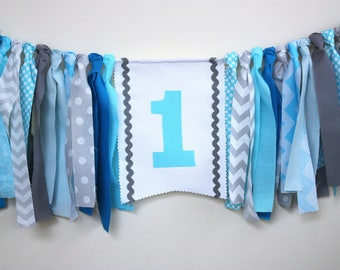 Aqua, Blue, Grey Garland, 1st Birthday Banner, Highchair Banner, High chair garland Boy birthday Banner,  Cake Smash banner, Photo Prop