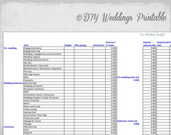 Wedding Spreadsheet Etsy