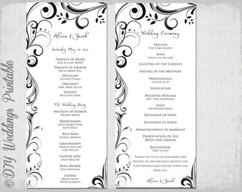 navy wedding ceremony program template modern diy wedding etsy