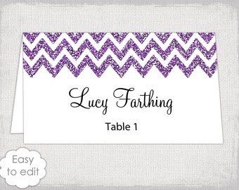 place card template glitter chevron name card diy lavender wedding printable place cards you edit word instant digital download avery 5302