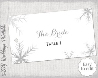 Winter Wedding Place Card Template Snowflakes Etsy