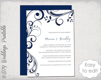 Wedding invitation templates turquoise and black navy wedding invitation template scroll printable invitations navy blue you edit digital word template jpg instant download stopboris Image collections