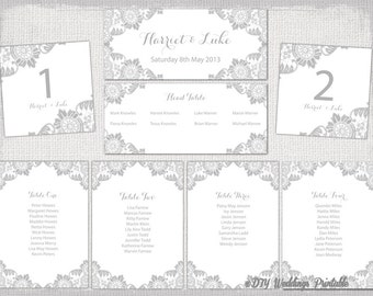 Seating chart template Rustic Lace printable