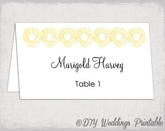 place card template yellow daisy diy wedding escort cards sunflower name cards templates avery 5302 instant download