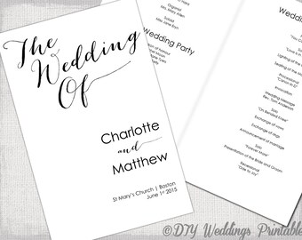 wedding program template calligraphy black white printable wedding program diy order of ceremony booklet bombshell you edit download