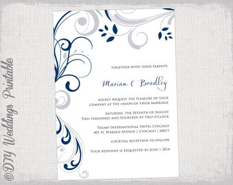 wedding invitation template silver gray and royal blue etsy