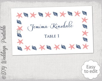 Escort Card Template Beach DIY Wedding Favor Tags Labels Coral Navy Printable Shell Starfish Nautical Word Download