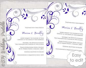 Royal blue wedding invitations Etsy