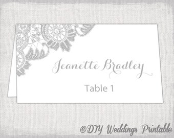 printable place cards template silver gray wedding place card templates antique lace diy printable name cards avery 5302 instant download