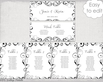 Wedding Seating Chart Template Silver Gray Antique - Wedding seating chart template word