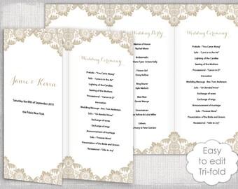 wedding program templates tri fold