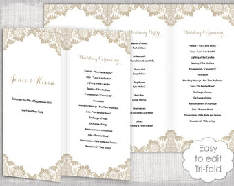trifold program etsy