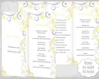 wedding program template trifold