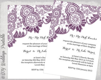 rustic wedding invitation template wood lace etsy