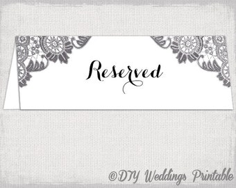 Reserved Sign Template Scroll Printable Wedding - Table tent cards template free