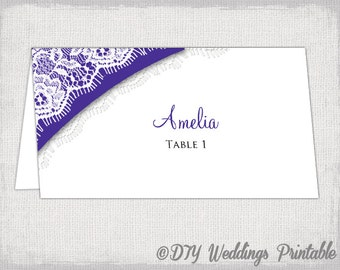 wedding place card template lace diy printable placecards regent prurple you edit word template place card instant download