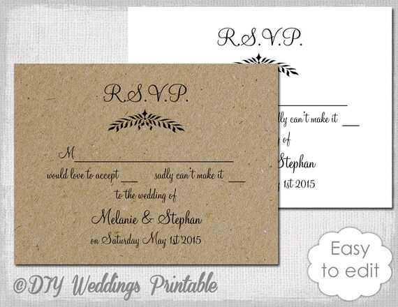 rustic wedding rsvp template leaf garland etsy