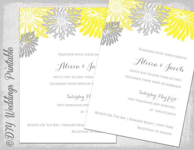 Wedding Invitation Template Yellow Gray DIY Summer Invitations Flower Burst Gerber Daisy Digital Printable YOU EDIT Download