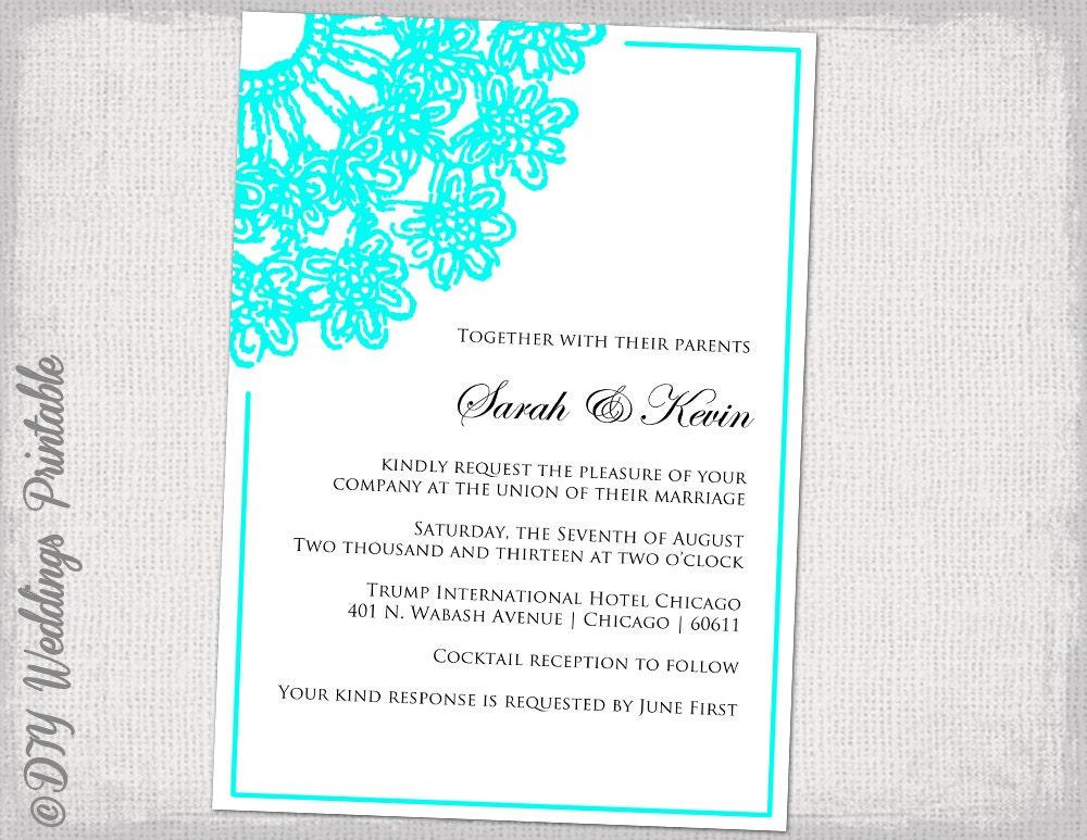 Wedding Invitations Turquoise: Wedding Invitation Template Turquoise Lace Doily