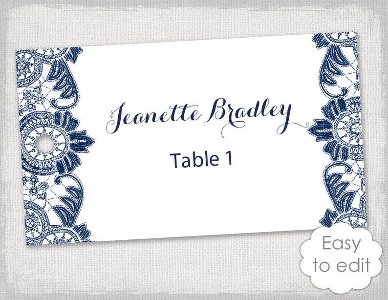 name tags template navy antique lace printable