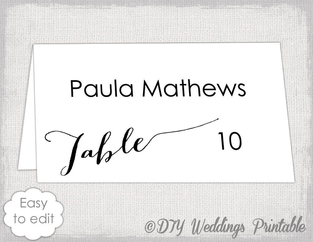 Place Card Template Modern Calligraphy Script Diy Black Etsy