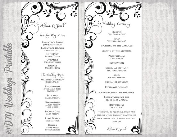 black white wedding program template instant download etsy