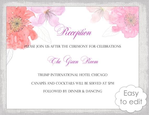 Wedding Reception Invitation Template Diy Printable Etsy