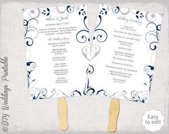 wedding program fan template scroll navy sunbeam
