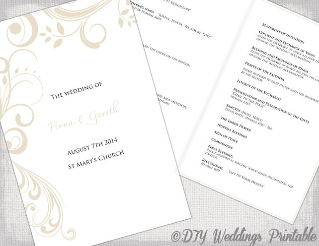 catholic wedding program template champagne scroll diy printable