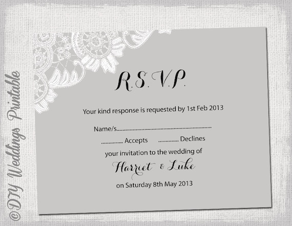 wedding rsvp template download diy silver gray antique etsy