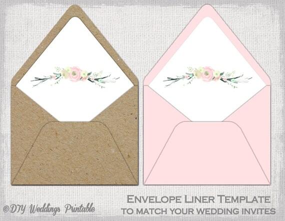 Envelope Liner Template Pink Rustic Flowers Diy
