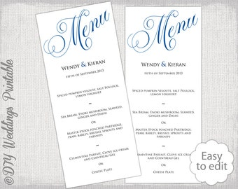 "Wedding menu template Horizon blue wedding menu DIY wedding menu template ""Parfumerie"" digital printable menu YOU EDIT Word instant download"