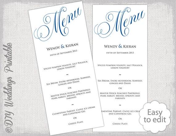 Wedding Menu Template Horizon Blue DIY