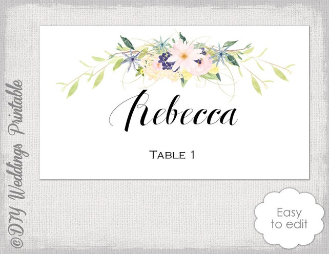Place Card Template Flower Garland Wreath Eden Name Cards Diy