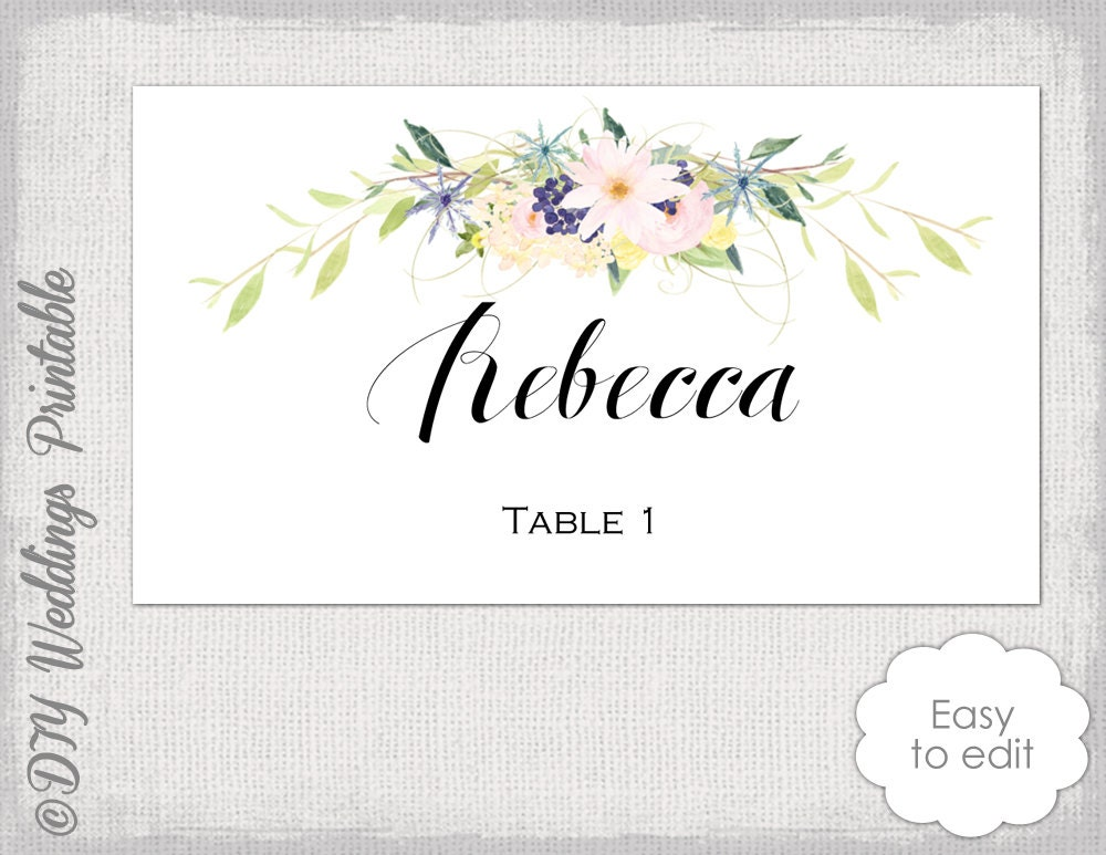 Place Card Template Flower Garland Wreath Eden Etsy