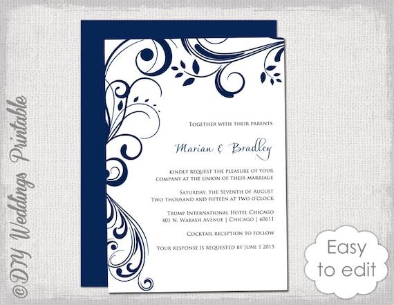 navy wedding invitation template scroll etsy