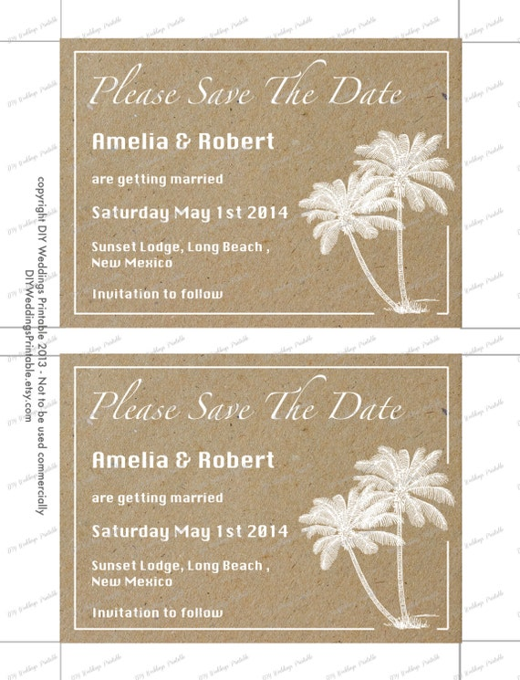 Beach Save The Date Templates Diy Destination Palm Tree Wedding Announcement Printable Word Save The Date Template You Edit Download