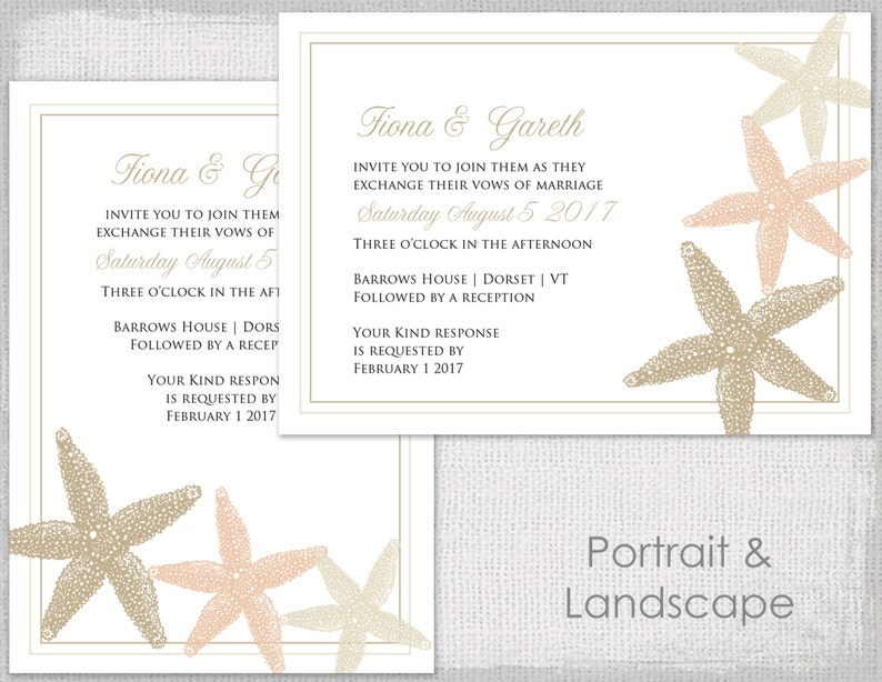 Beach Wedding Invitation Template Starfish Printable Sand Ecru And Champagne Invitations Digital YOU EDIT Instant Word Download