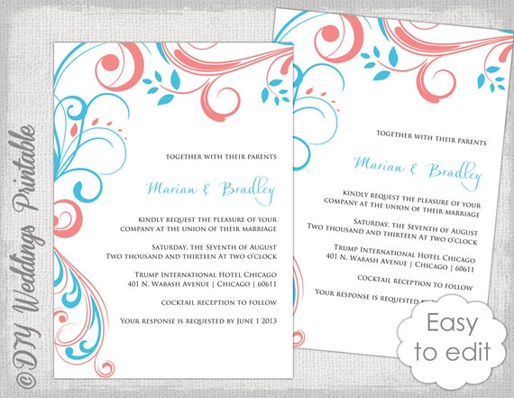 Wedding Invitation Template Turquoise Coral Etsy